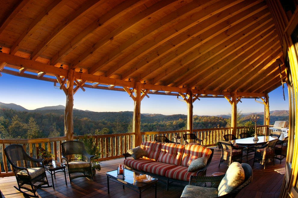 Screened in porch designs exterior eclectic with car port for Rustic covered decks