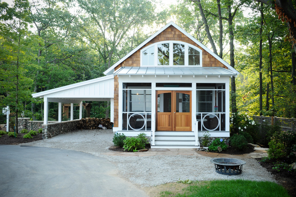 Screened in Porch Designs Exterior Eclectic with Car Port Cedar Shakes Cottage Driveway Exterior