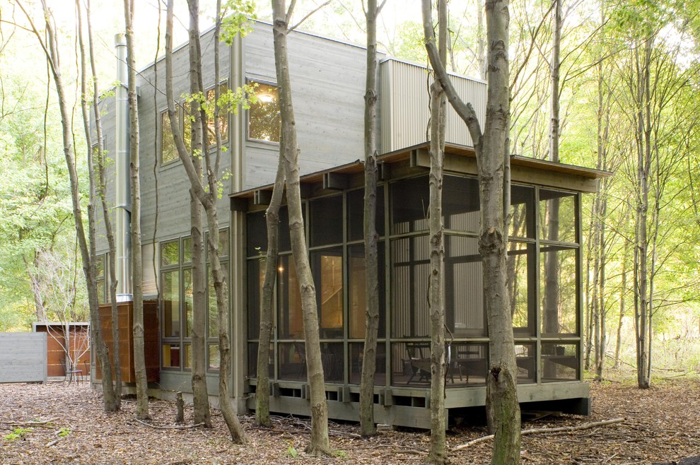 Screened in Porch Designs Exterior Rustic with Cabin Cube Flat Roof Forest Metal Chimney