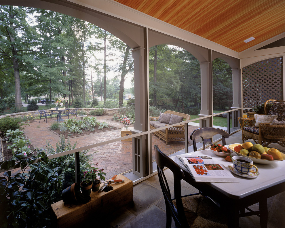Screened in Porch Ideas Porch Traditional with Brick Paving Enclosed Porch Lattice Outdoor Dining