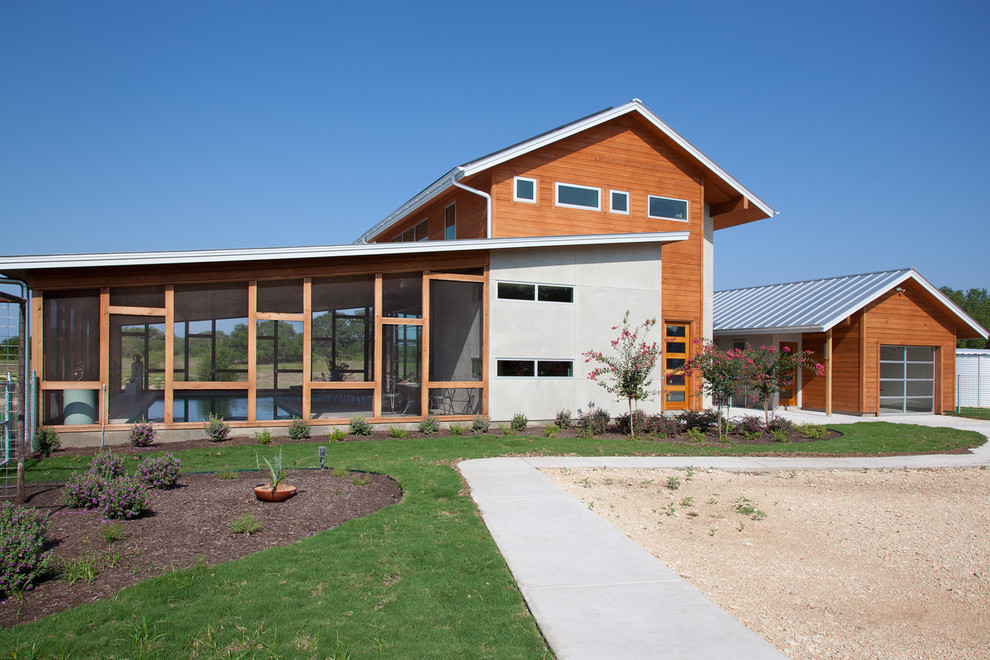 Screened Porch Ideas Exterior Modern with Barn Like Driveway Front Entry Glass Garage Door