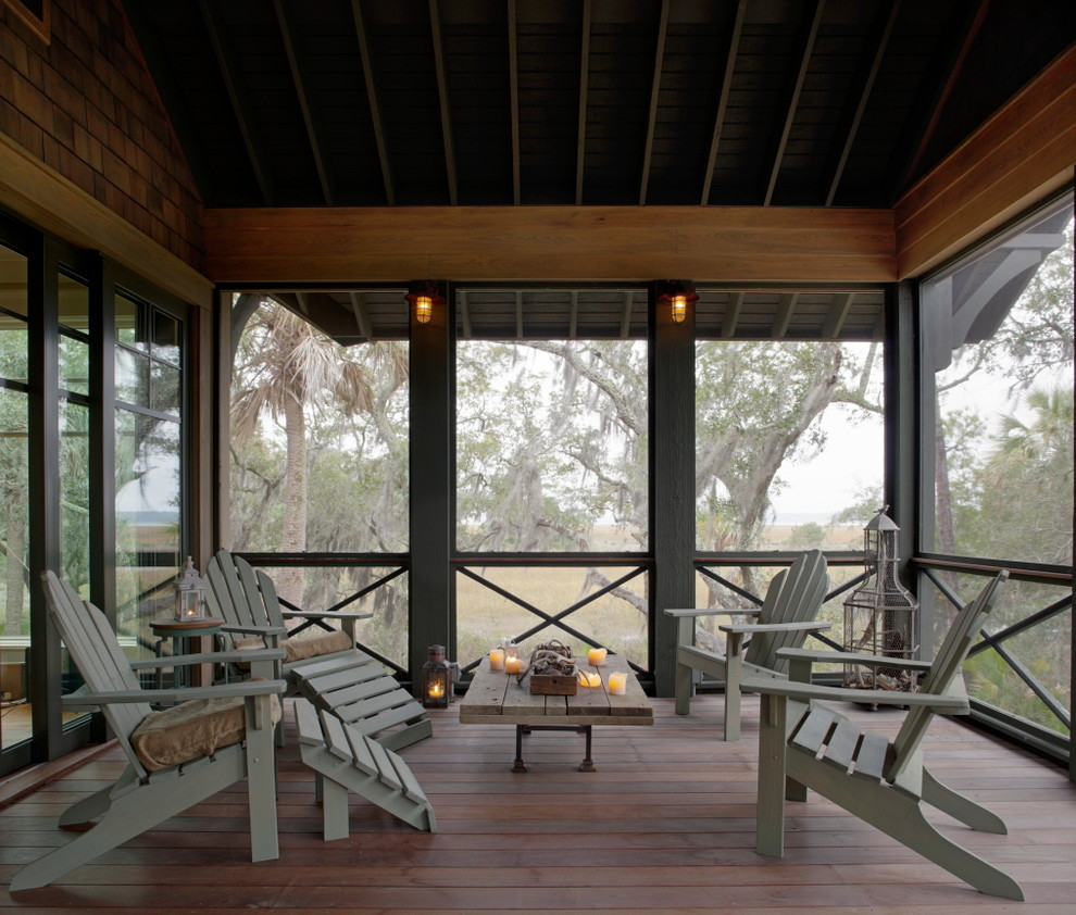 Screened Porch Ideas Porch Eclectic with Adirondack Chairs Deck Indoor Outdoor Lanterns Porch