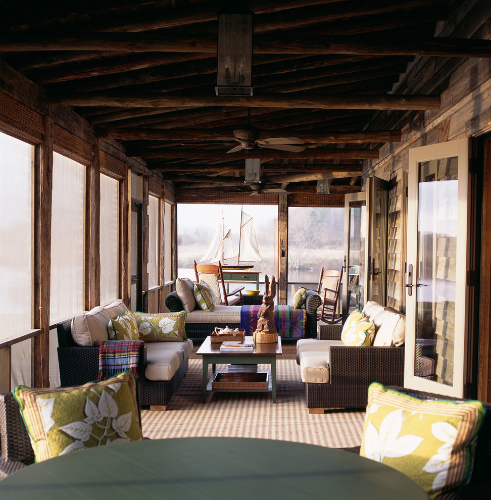 Screened Porch Ideas Porch Rustic with 18th Century Antique Wood Floors Cabin Ceiling