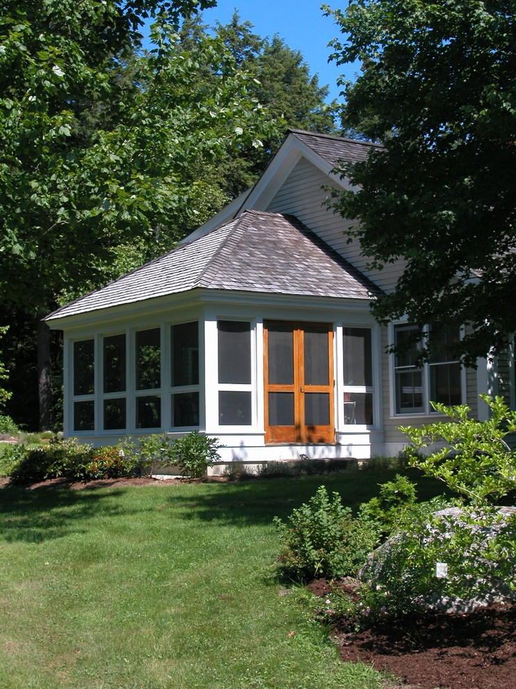 Screened Porch Ideas Porch Traditional with All Season Room Bark Mulch Double Doors