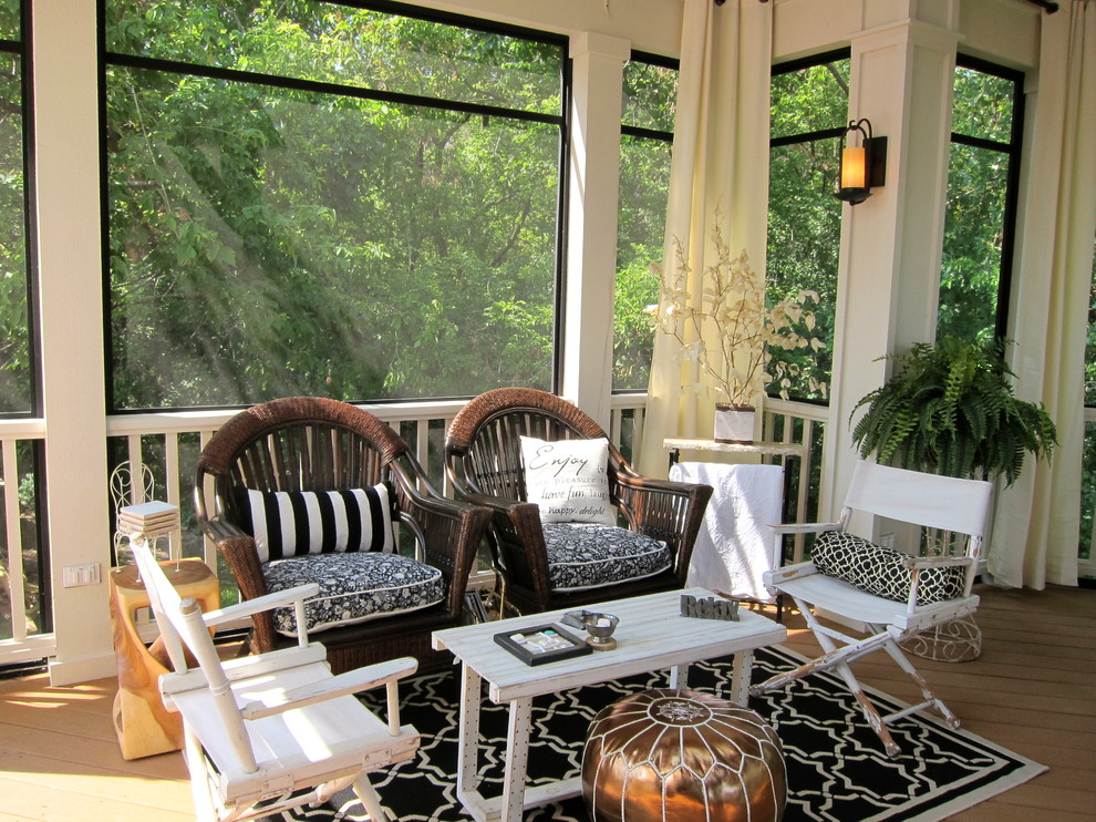 Screened Porch Ideas Porch Traditional with Area Rug Black Black and White Bolster