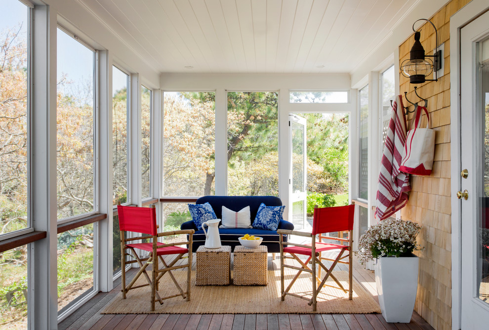 Screened Porches Porch Beach with Blue Couch Directors Chairs Jute Rug Red