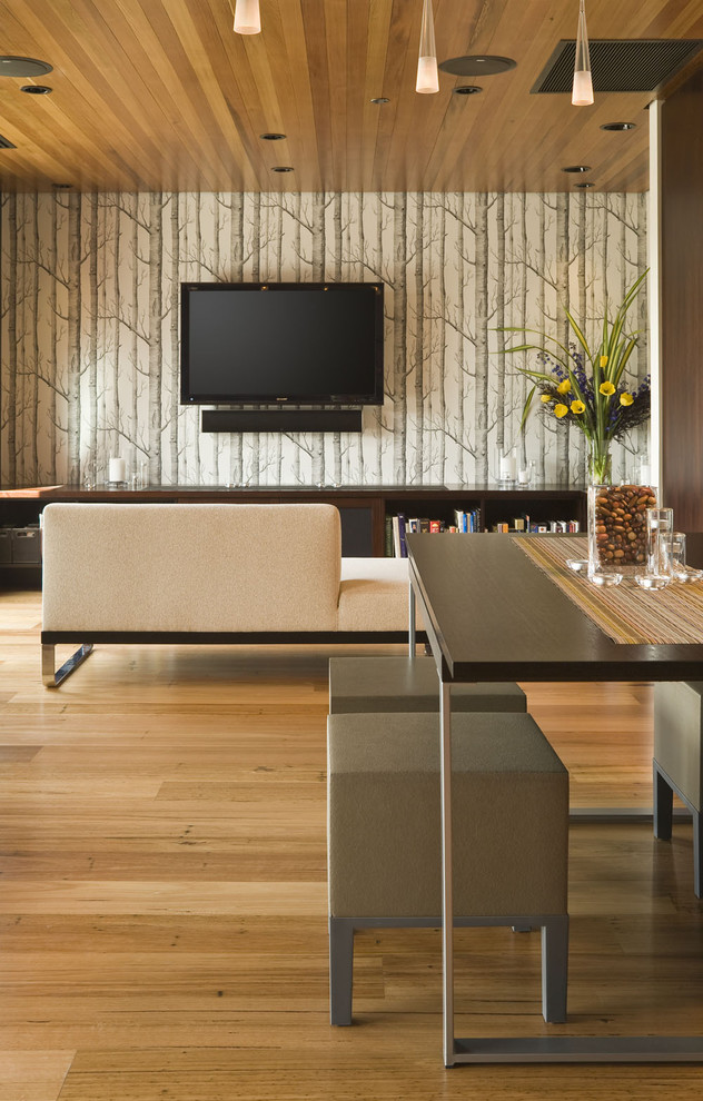 Seabrook Wallpaper Living Room Contemporary with Accent Wall Ceiling Lighting Dining Stools Floral
