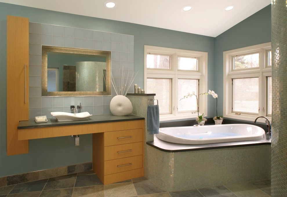 Seafoam Green Paint Bathroom Contemporary with Above Counter Sink Asian Asymmetry Blue Green