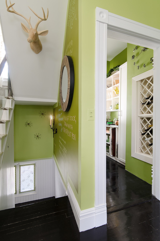 seafoam green paint Hall Eclectic with bright green walls butler's pantry carved wood