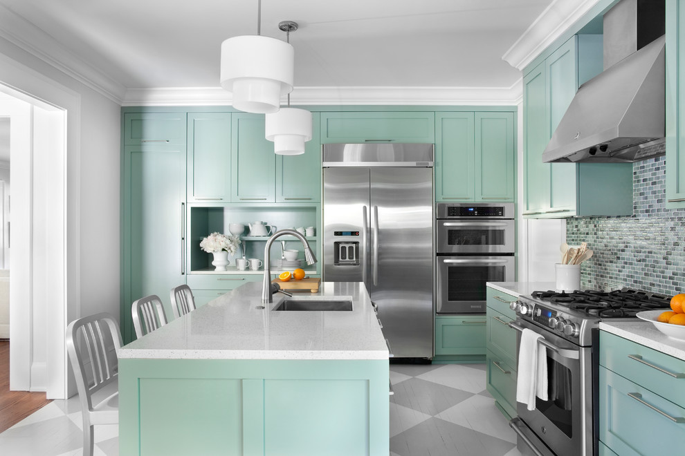 Seafoam Green Paint Kitchen Contemporary with Built in Shelf Checkered Floor Double Drum Pendant