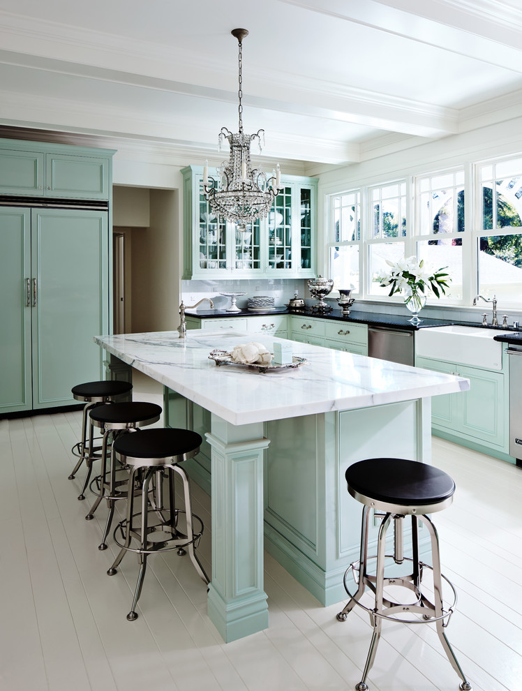 Seafoam Green Paint Kitchen Traditional with Black and Silver Counter Stool Ceiling Beams