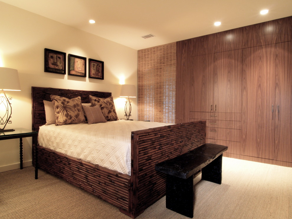 Seagrass Carpet Bedroom Tropical with Bamboo Bed Bedroom Storage Bedside Table Built