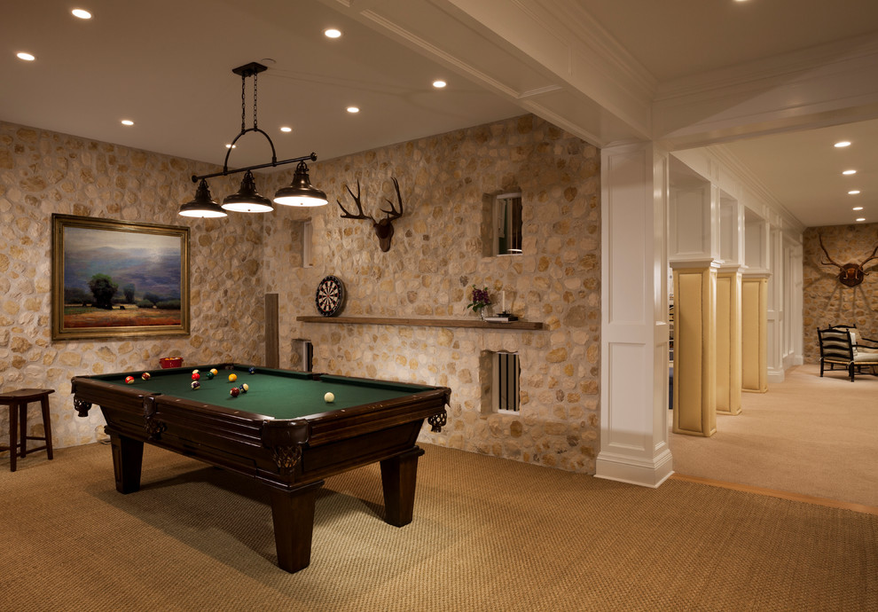 Seagrass Carpet Family Room Traditional with Antlers Artwork Dark Stained Wood Fieldstone Frame