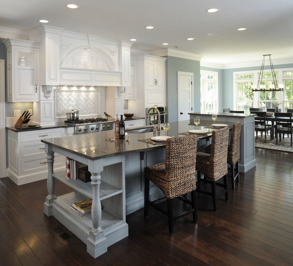 Seagrass Chairs Kitchen Traditional with Black Countertops Breakfast Bar Ceiling Lighting Cookbooks