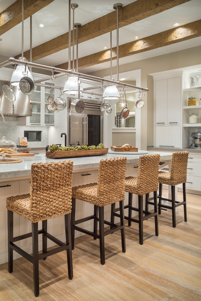 Seagrass Chairs Kitchen Transitional with Beams Counter Stools Dark Hardware Hanging Pot