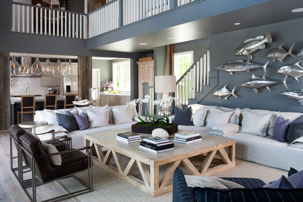 Seagrass Coffee Table Family Room Beach with Beach Cottage Beach House Blue Gray Painted