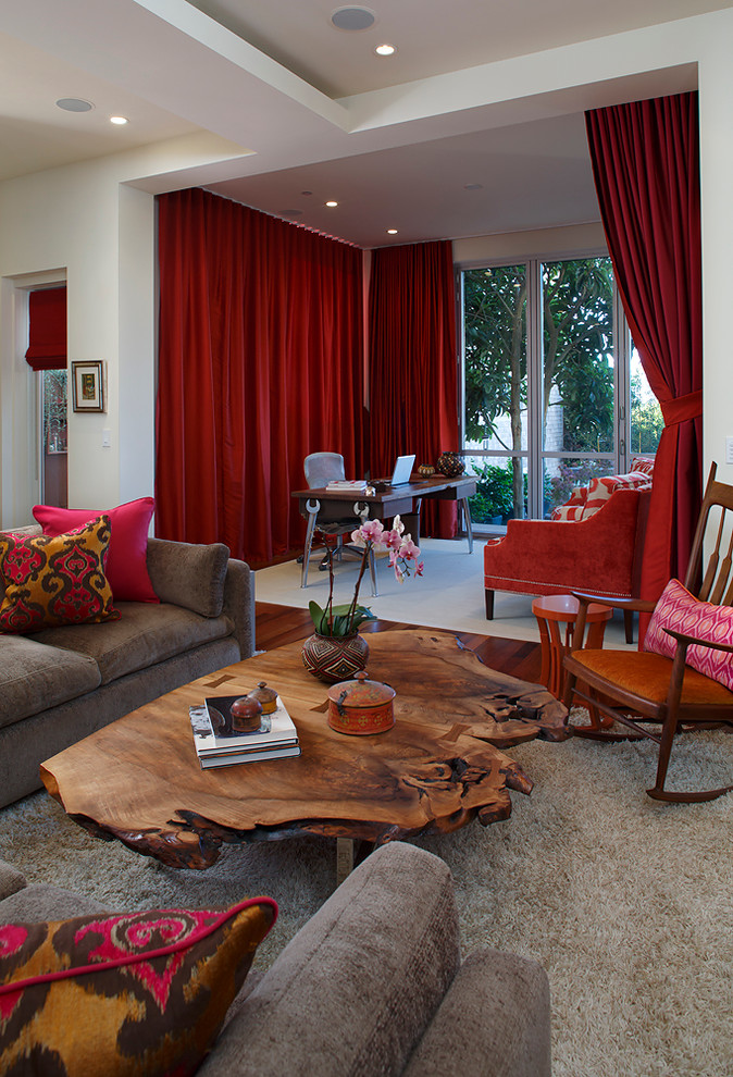Seagrass Coffee Table Living Room Eclectic with Desk Drapes Home Office Red Red Drapes