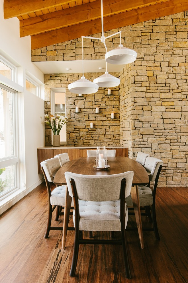 Seagrass Dining Chairs Dining Room Midcentury with Accent Wall Angled Ceiling Beige Dining Chair
