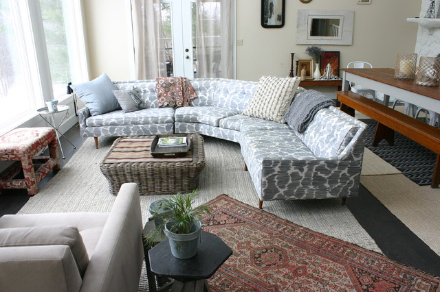 sears rugs Living Room Eclectic with basket Eclectic gray sofa oriental rug printed sofa sectional