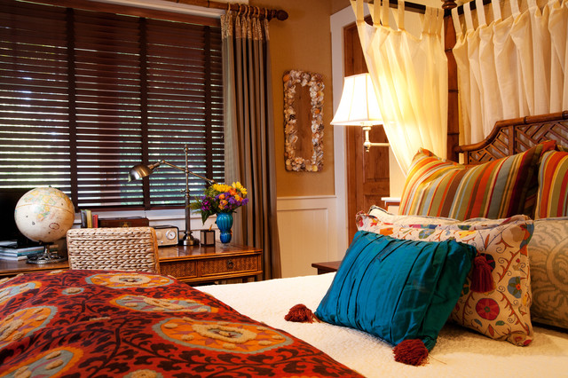 seashell bedding Bedroom Eclectic with bamboo bed bamboo desk blinds canopy bed curtain panels