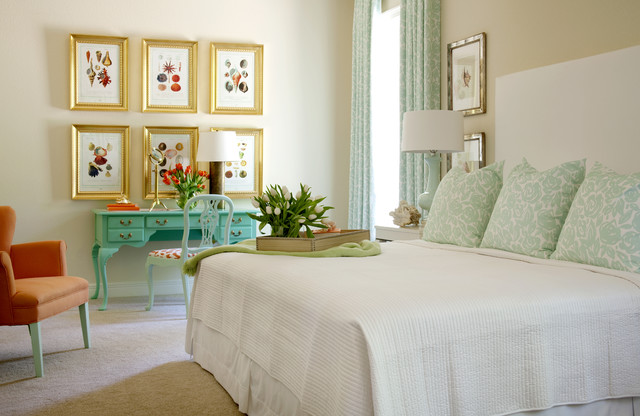 Seashell Bedding Bedroom Traditional with Beige Wall Carpet Gold Frames Light Blue Curtains Light