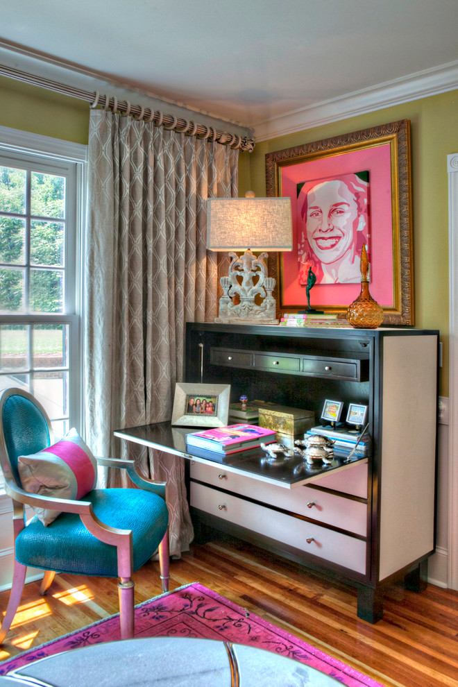 Secretary Desk with Hutch Home Office Contemporary with Bright Colors Corner Curtains Lamp Living Room