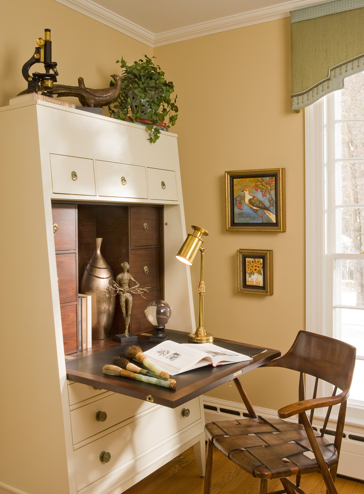 Secretary Desk with Hutch Home Office Eclectic with Abattant Arm Chair Armoire Container Plant Cream