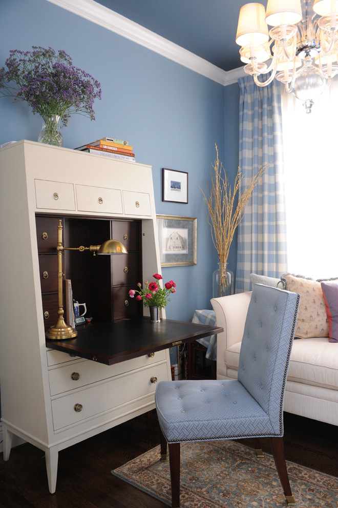 Secretary Desk with Hutch Home Office Traditional with Blue Blue and Brown Blue Walls Chaise