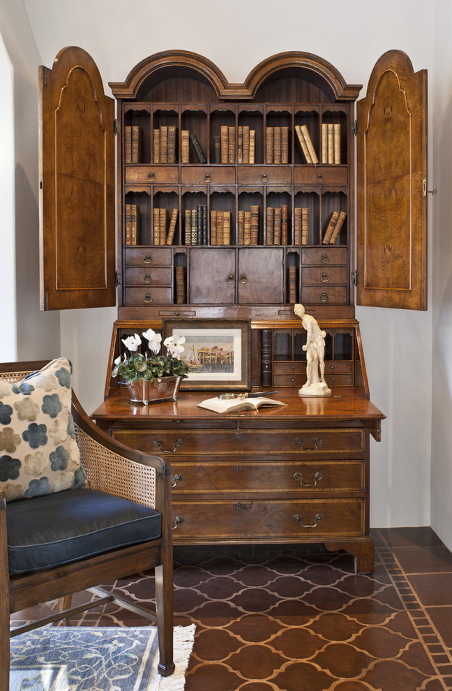 Secretary Desk with Hutch Living Room Mediterranean with Accent Tiles Antique Furniture Bookshelves Cane Armchair