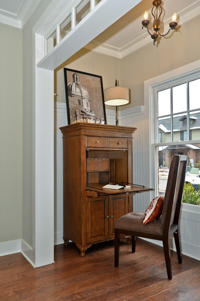 secretary desk with hutch Living Room Traditional with abattant bead board beige walls chandelier crown