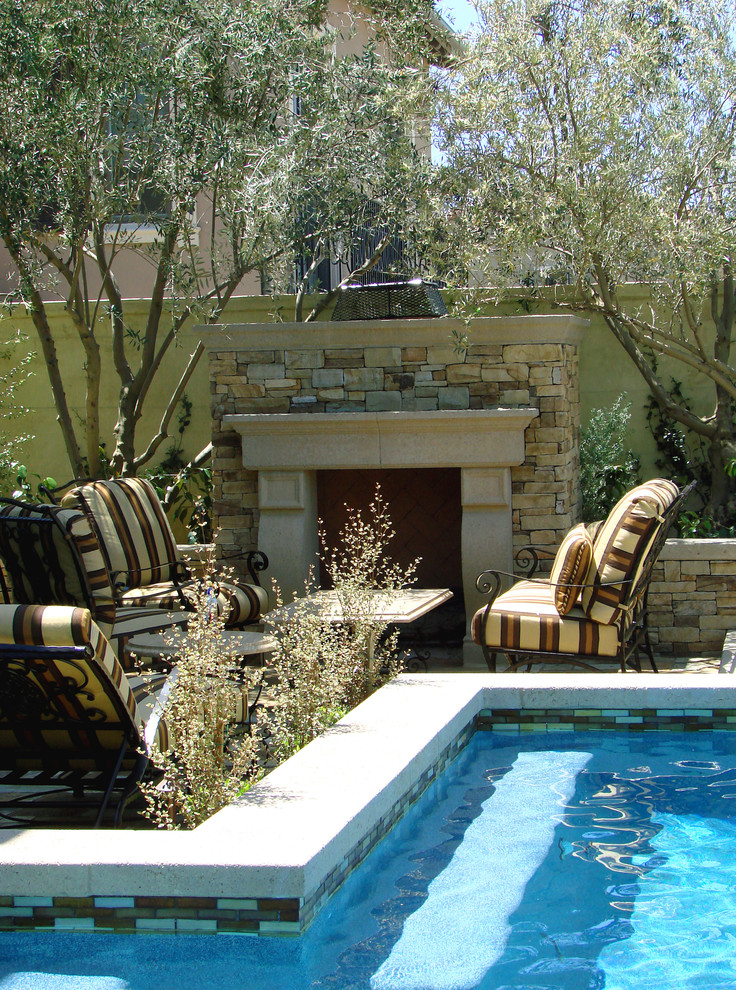 Semi Inground Pools Patio Mediterranean with Earth Tone Colors Fireplace Mantel Fireplace Surround