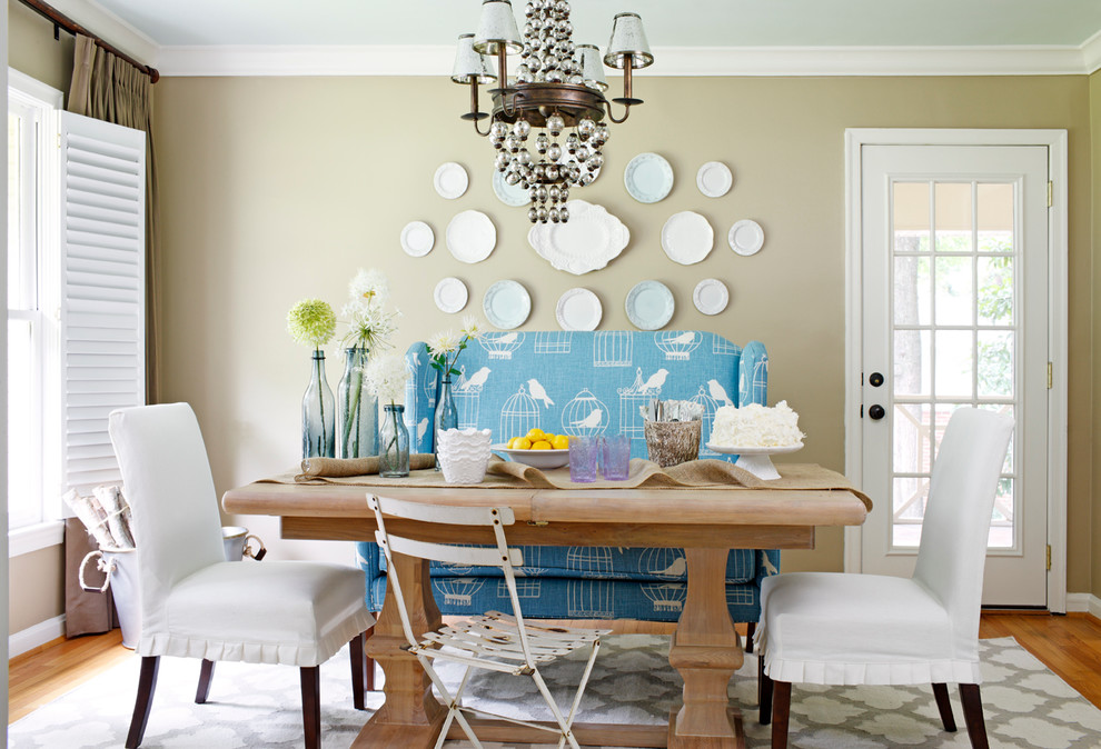 setee Dining Room Transitional with arabesque pattern rug banquette seating burlap table