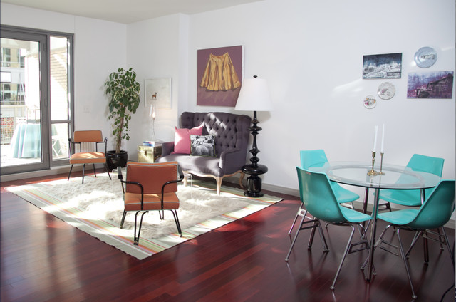 settees Living Room Midcentury with area rug art work dark stained wood dining table
