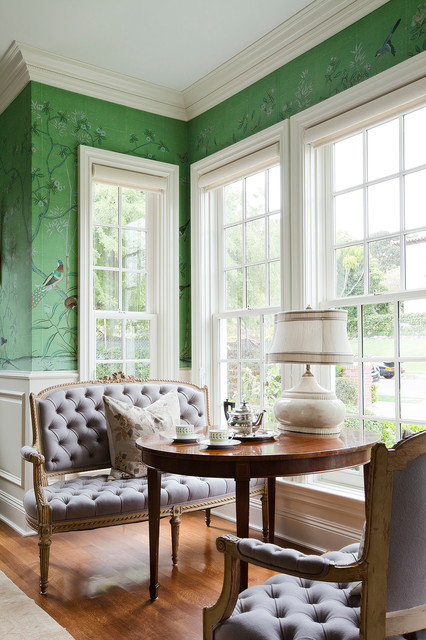 Settees Living Room Traditional With Accent Wall Crown Molding Green Wallpaper Round Table Sitting