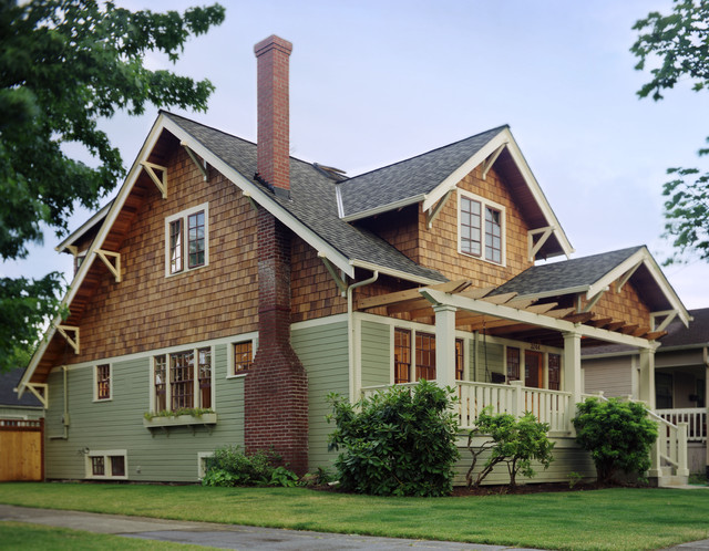 Shake Siding Exterior Traditional with Casement Windows Divided Lights Entry Porch Grass Green Siding