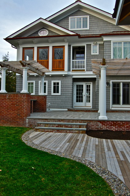 Shake Siding Exterior Victorian with Brick Wall Deck Design French Doors French Drain Grass