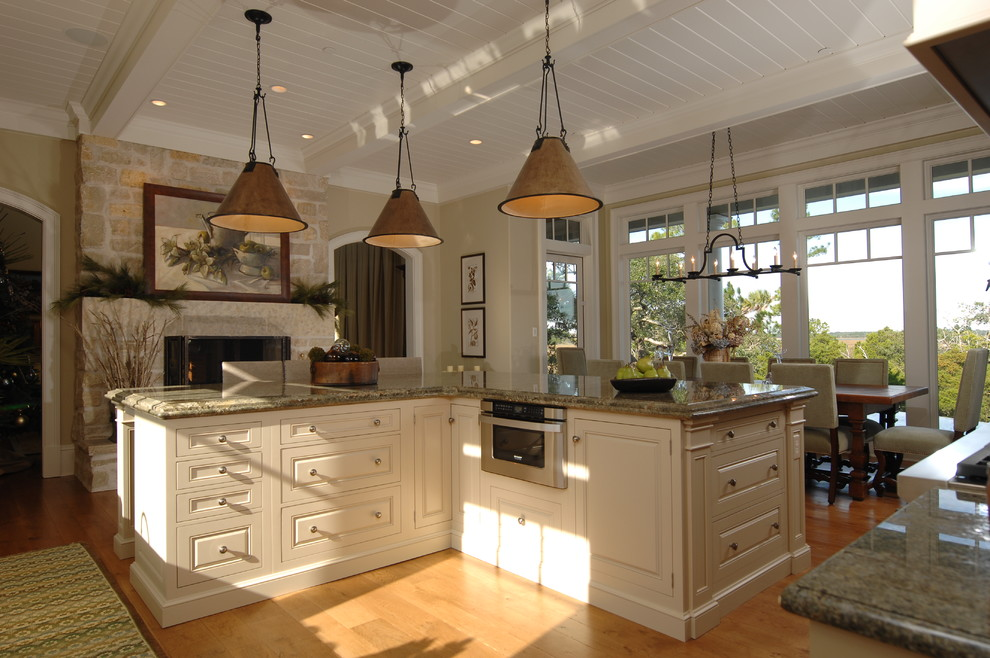 Sharp Microwave Drawer Kitchen Traditional with Chandelier Eat in Kitchen Floor to Ceiling Windows Granite Countertop