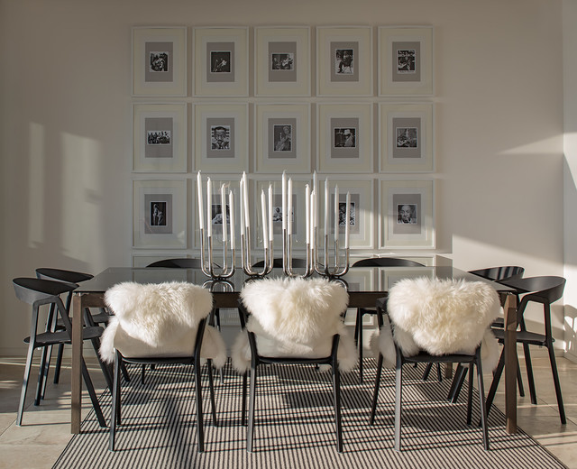 Sheep Skin Rug Dining Room Contemporary with Black and White Black and White Striped Area Rug