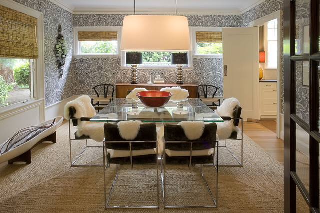 Sheep Skin Rug Dining Room Modern with Glass Dining Table Graphic Wallpaper Natural Rug Natural Shades