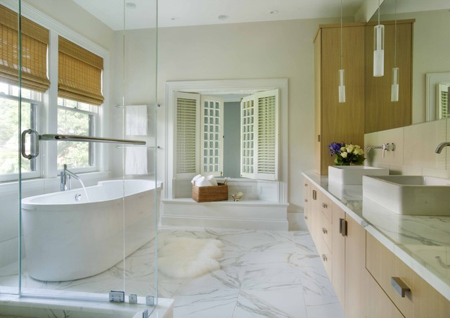 Sheepskin Rug Bathroom Contemporary with Double Sinks Double Vanity Drawer Pulls Freestanding Tub Interior
