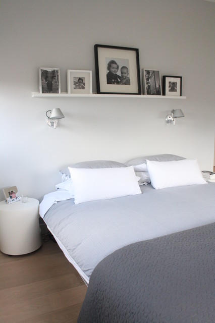 Shelfs Bedroom Contemporary with Bedside Table Black and White Photography Gray Bedding Low Profile