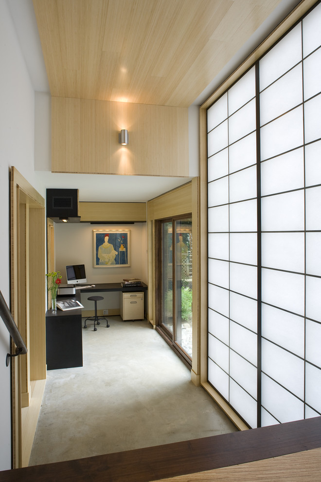 shoji screen Home Office Asian with Asian bamboo ceiling concrete flooring eco-friendly engineered