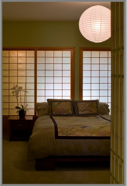 Shoji Screens Bedroom Asian with Bedside Table Container Plant Green Wall Nightstand Orchid Paper