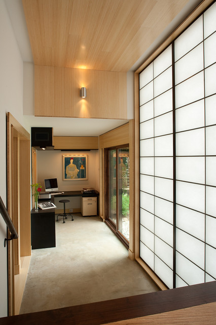 Shoji screens hall asian with glass doors home office for Office design japanese