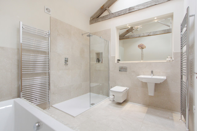 Shower Pan for Tile Bathroom Contemporary with Beams Contemporary Meets Traditional Exposed Beams Marble Marble Bathroom