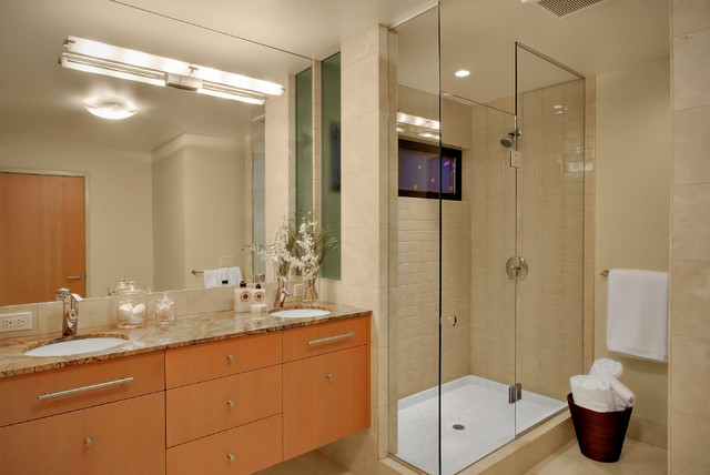 Shower Pan for Tile Bathroom Contemporary with Beige Cream Double Sinks Flat Panel Floating Vanity Frameless