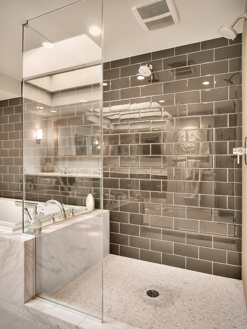 shower pan for tile Bathroom Contemporary with brown glass gray marble mosaic tile shower enclosure subway