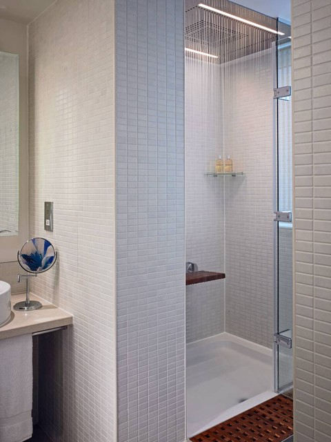 Shower Pan for Tile Bathroom Modern with Cosmetics Mirror Minimal Modern Shower Fixtures Neutral Colors Rain