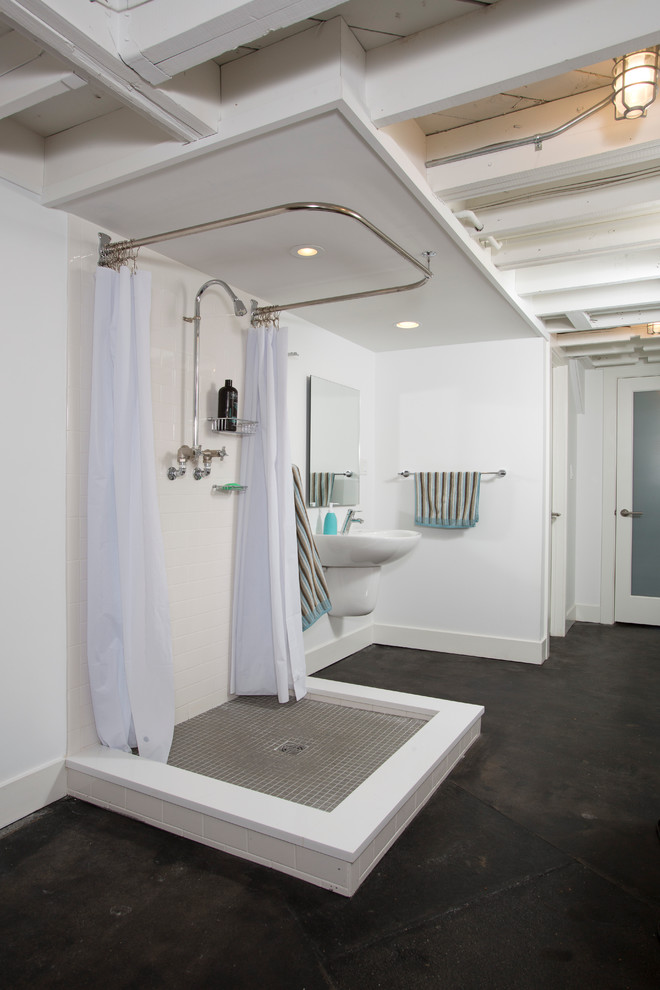 Shower Stall Ideas Bathroom Industrial with Concrete Floor Drop Ceiling Exposed Beams Exposed