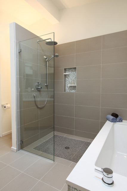shower stall kits Bathroom Midcentury with bamboo cabinet bathroom tile curbless shower Daltile floor tile